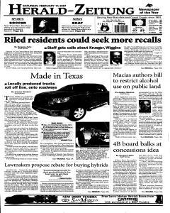 New Braunfels Herald Zeitung, February 17, 2007, Page 1