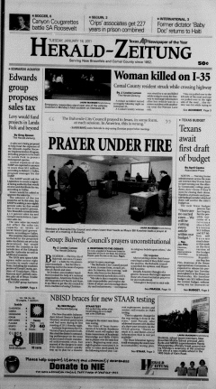 New Braunfels Herald Zeitung, January 18, 2011, Page 1