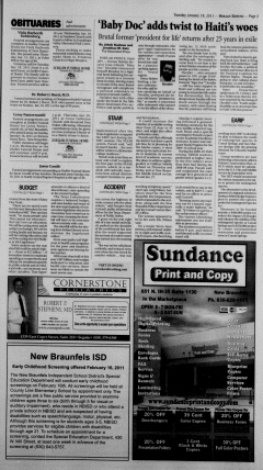 New Braunfels Herald Zeitung, January 18, 2011, Page 3