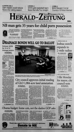 New Braunfels Herald Zeitung, February 15, 2011, Page 1