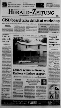 New Braunfels Herald Zeitung, May 11, 2011, Page 1