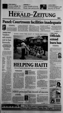 New Braunfels Herald Zeitung, May 20, 2011, Page 1