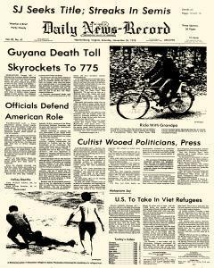 Harrisonburg Daily News Record, November 25, 1978, Page 1