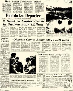 Fond Du Lac Reporter, September 06, 1972, Page 1