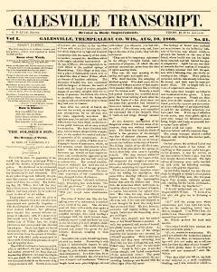 Galesville Transcript, August 10, 1860, Page 1