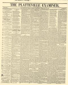 Platteville Examiner, February 25, 1858, Page 1